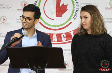 Sameer Zuberi, Diversity and Engagement Officer at McGill University's Faculty of Medicine, Lina Bensaidane, the first recipient of the Centre Islamique de Quebec Memorial Award