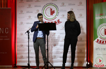 Sameer Zuberi, Diversity and Engagement Officer at McGill University's Faculty of Medicine, Lina Bensaidane, the first recipient of the Centre Islamique de Quebec Memorial Award — at Dera Restaurant.